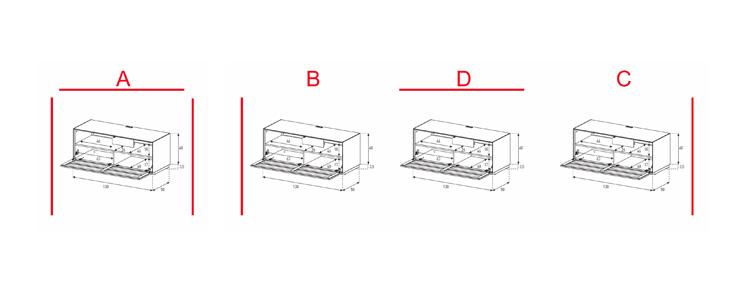EX10-TS - Lowboard mit Klapptür Textil (Soundbar)