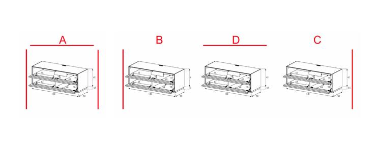 EX10-TT - Lowboard mit Klapptür Textil / Textil