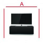 Lowboard Sonorous Elements EX10-FF-BLK-BLK-2-A - TV-Möbel mit Glasdekor Schwarz und 2 Klapp-Türen