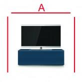Lowboard Sonorous Elements EX10-FF-BLU-BLU-2-A - TV-Möbel mit Glasdekor Dunkel Blau und 2 Klapp-Türen