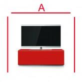 Lowboard Sonorous Elements EX10-FF-RED-RED-2-A - TV-Möbel mit Glasdekor Rot und 2 Klapp-Türen
