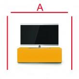 Lowboard Sonorous Elements EX10-FF-YLW-YLW-2-A - TV-Möbel mit Glasdekor Gelb und 2 Klapp-Türen