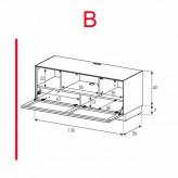 Lowboard Sonorous Elements EX10-TC-B - TV-Möbel mit stoffbezogener Klapp-Tür / kombinierbar