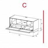 Lowboard Sonorous Elements EX10-TC-C - TV-Möbel mit stoffbezogener Klapp-Tür / kombinierbar