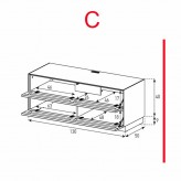 Lowboard Sonorous Elements EX10-TT-C - TV-Möbel mit 2 stoffbezogenen Klapp-Türen / kombinierbar